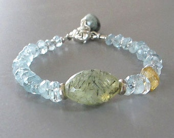 Aquamarine Prehnite Citrine Bracelet Sterling Silver DJStrang Gemstone Bead Blue Green Yellow Boho Cottage Chic March Birthstone