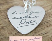 Petite Handwriting Heart Actual Handwriting Sterling Silver Necklace Memory Charm