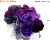 Valentine Sale Purple Fiber kit, Purple Sampler, roving, wool, firestar glitz Needle, Wet Felting wool, Spinning, mini batt, lavender, viole