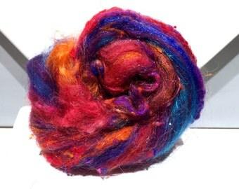 """fiber art batt, wool, roving, spinning, felting """"Esprit""""  Blue, Purple, Violet, Red, Orange, fuchsia"""