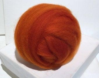Carrot Orange wool roving, Felting wool, Spinning Fiber roving, red orange pumpkin, orange roving, Pumpkin orange wool roving