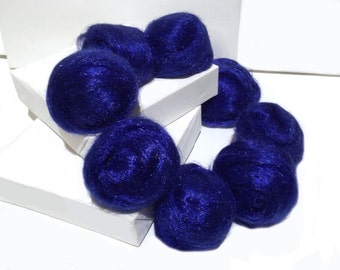 Royal Blue Firestar, Needle Felting, Spinning Fiber, roving, blue, Red Blue .5 oz, similar to Icicle Top, ships free with wool
