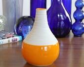 Orange Vase - SHOP SALE - Short Porcelain Groove Vase in Orange - Modern Pottery Vase