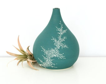 Teardrop Vase - Short Ceramic Pebble Vase in Teal - Teal Pottery Vase with Dots