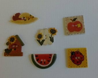 Mill Hill Hand Painted Ceramic Buttons-Summer Time 3-All profits go to charity