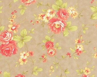 1/4 yard piece/remnant - Farmhouse - Rose in Pebble: sku 20250-15 cotton quilting fabric by Fig Tree and Co for Moda Fabrics