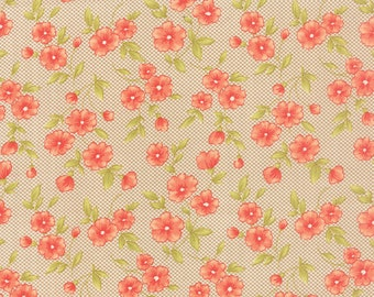 Farmhouse - Gingham Blooms in Pebble: sku 20255-15 cotton quilting fabric by Fig Tree and Co for Moda Fabrics - 1 yard