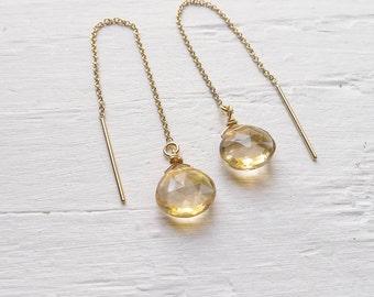 Gold Thread Earrings Champagne Citrine Briolette Stone Earring Goldfill Threader Earings