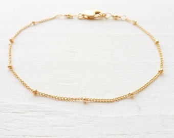 Gold Anklet Dainy Gold Filled Beaded Chain Bracelet Basic Jewelry