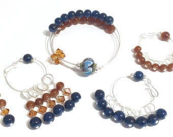 EXCLUSIVE Turnagain Arm Alaska Complete Knitting Set (Row Counter Bracelet, Stitch Markers, Small and Medium Droplets)