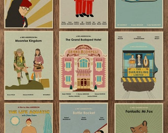 SALE - Set of 9 Wes Anderson 16x12 Minimalist Movie Posters