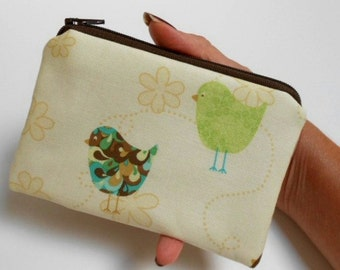 Little Zipper Pouch Coin purse ECO Friendly Padded NEW Emma Birds