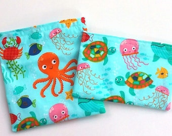 Reusable Snack Bag, Sandwich Bag, Nautical and Preppy Sea life, Kid's bags for School lunch or Summer snacks, Zero waste lunch
