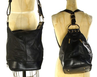 90s Convertible Leather Backpack / Shoulder Bag / Vintage 1990s Italian Valentino di Paolo Bag / Butter SOFT Black Leather Backpack / Purse