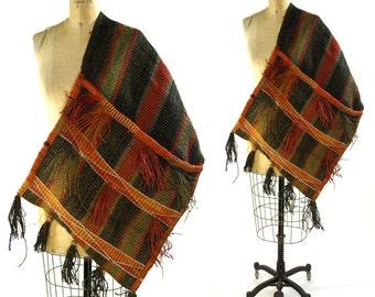 Khorjin Saddle Bag with Tassels / LARGE Vintage 1960s Bohemian Ethnic Tribal Bahtiyari Camel Bag