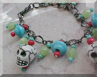 Day of the Dead Bracelet Day of the Dead Jewelry Skull Bracelet Frida Kahlo Bracelet Dia De Los Muertos Bracelet Mexican Folk Art to Wear