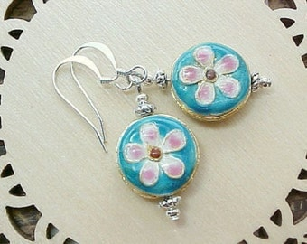 Turquoise Blue Cloisonne Earrings Cloisonne Flower Earrings Daisy Earrings Ethnic Earrings Rustic Earrings Limpet Blue Mexican Folk Art
