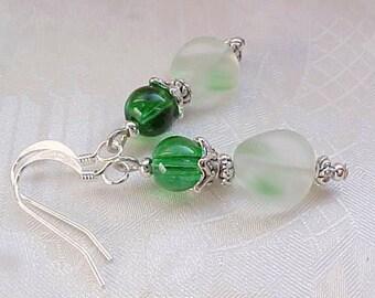 St Patricks Day Earrings Kelly Green Earrings Vintage German Beads Chevron Earrings Czech Glass Earrings Czech Beads Jewelry Gifts for Her