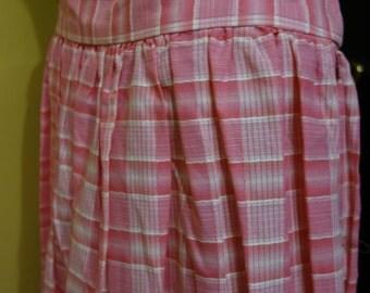 SALE 1950s Pink and White Cotton Plaid Full Skirt Vintage Size Medium 30 Inch Waist Rockabilly Mad Men