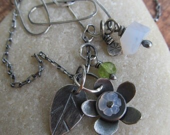 Silver Flower Necklace Dainty Blue Green Gemstone Leaf Stamped silver charm Necklace