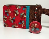 Brown and Red Floral Wristlet with Beaded Zipper Pull and Pocket Mirror