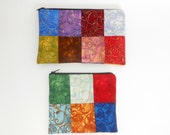 Patchwork Zipper Pouch Set Coin Purse Cosmetic Pouch Jeweled Tone Multi Colored