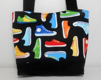 Shoes Medium Purse, Black Medium Tote Bag with Pockets, Tennis Shoes Purse