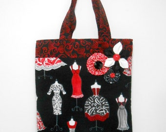 Magazine Tote Bag, Black and Red Embellished Book Bag with Kanzashi and Yo Yo Flowers