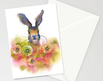 Greeting Card - PEEKABOO - Bunny, Easter, Spring, Playful, Cute, Children, Clover, Watercolor Art Painting