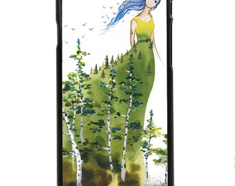 """Phone Case """"Lady Aspen"""" - Watercolor Art Giclee Print Cute Young Forest Spirit Tree Birds Dress Dryad Girl By Olga Cuttell"""