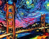 van Gogh Never Saw Golden Gate - Art Giclee print reproduction by Aja 8x8, 10x10, 12x12, 20x20, and 24x24 inches choose your size