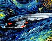 Star Trek Art - Enterprise Starry Night print van Gogh Never Boldly Went by Aja DIGITAL DOWNLOAD