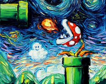 Starry Night Piranha Plant - Video Game Art - Super Mario Bros - print van Gogh Leveled Up by Aja 8x8 10x10 12x12 20x20 24x24 choose size