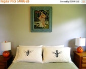 Mothers Day Sale His and Hers King & Queen Bee Standard Pillow Case Set, Valentines Gift for Couples, Anniversary Gift, Hand Printed Cotton,