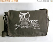 Mothers Day Sale Owl Messenger Bag, Hand Screen Printed Cotton Canvas Messenger Bag, Gift for Women, Computer Bag, Book Bag, School Bag,  Di