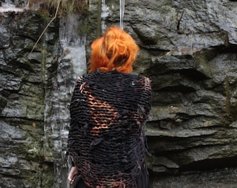 oversize rust and black knit scarf // continuum // ltd edition