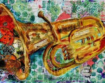 TUBA art | tuba painting | musical art | Fine art print |  mixed media | collage art | FRAMEABLE PRINT
