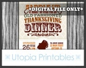 Country Thanksgiving Invitation Cowboy Western Theme Old West Rustic Rural Dinner Party Digital Printable Customized 5x7 Holiday