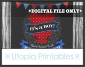 It's A Boy Baby Shower Invitation Red Blue Stars Theme Cute Digital Printable Customized 5x7 Dark Gray Grey DIY Party