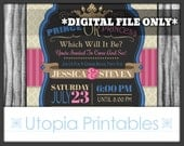 Prince or Princess Gender Reveal Party Invitation Pink Blue Tan Beige Brown Crown Baby Shower Theme Digital Printable Customized 5x7 DIY