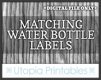 Matching Water Bottle Label - Custom Coordinated Printable Drink Bottle Decal To Match Any Custom Invitation In This Shop