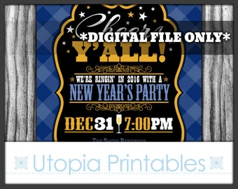 Country New Year's Invitation Cheers Y'all Rustic Western or Southern Theme Old West Party Digital Printable Customized Blue 2017 Yall