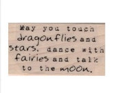 rubber stamp dragonflies stars fairies moon stamps stamping   quote  craft stamps     19753