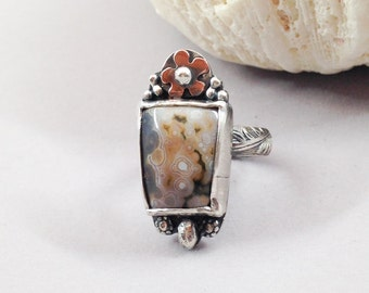 Ocean Jasper Ring - Size 6 1/2 - Flower Ring - Stone Ring - Handcrafted Artisan Metalsmith Ring, Mixed Metal Copper and Sterling Silver