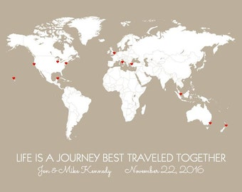 Wedding Gift, Travel Map of the World, DIY Map with Countries, And So the Adventure Begins, First Year Wedding Anniversary Gift for Husband