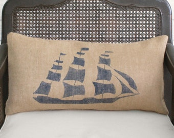 On the Sea - Clipper Ship - Burlap Pillow - Nautical Pillow in Lumbar Style