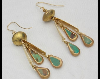 LOLITA - Natural Turquoise Smothered in Gold - Handforged Bronze & 14KT GF Earrings