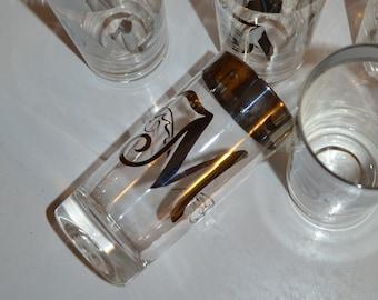 Silver Rimmed Monogrammed M Glass Set of 5 Mad Men - Royal Hill Vintage