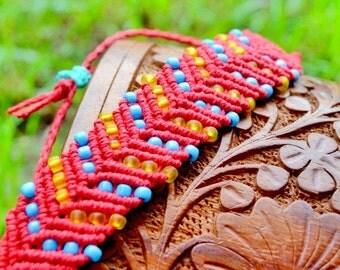 Macrame Bracelet, Hemp Bracelet, Bohemian Jewelry, Colorful, Boho Chic, Eco Chic, Beaded Jewelry