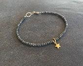Delicate Shining Star Pyrite Charm Bracelet. Minimalist gemstone bracelet.